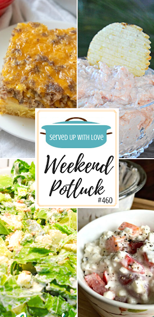 Weekend Potluck featured recipes include Sausage and Egg Casserole, Overnight Lettuce Salad, Shrimp Dip, Cottage Cheese Salad and more.