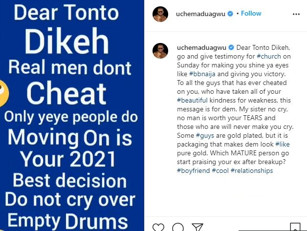 My sister dont cry, no man is worth your tears– Uche Maduagwu consoles Tonto Dikeh