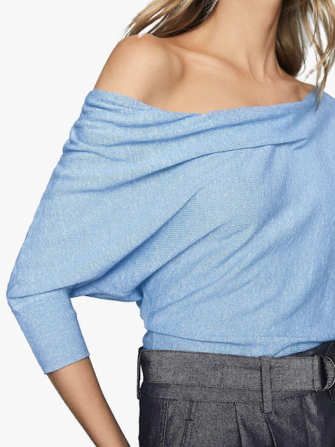 reiss flo draped knitted top