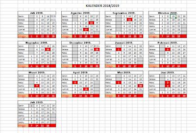 Download Kalender Pendidikan 2018 2019 Excel