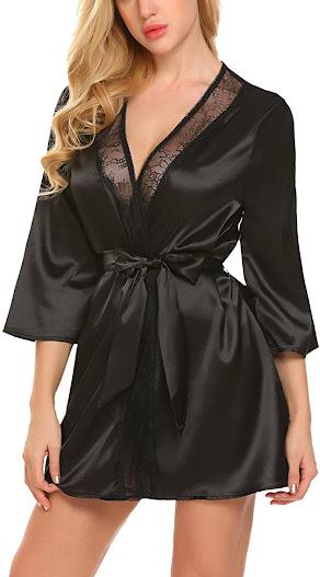 Women's Shiny Black Satin Robes
