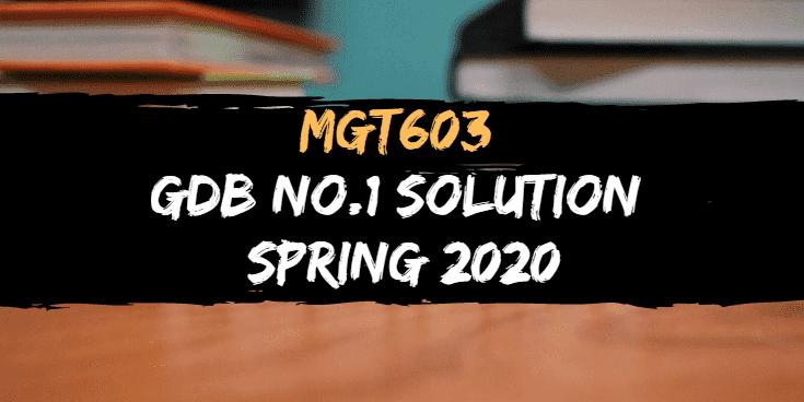 MGT603 GDB