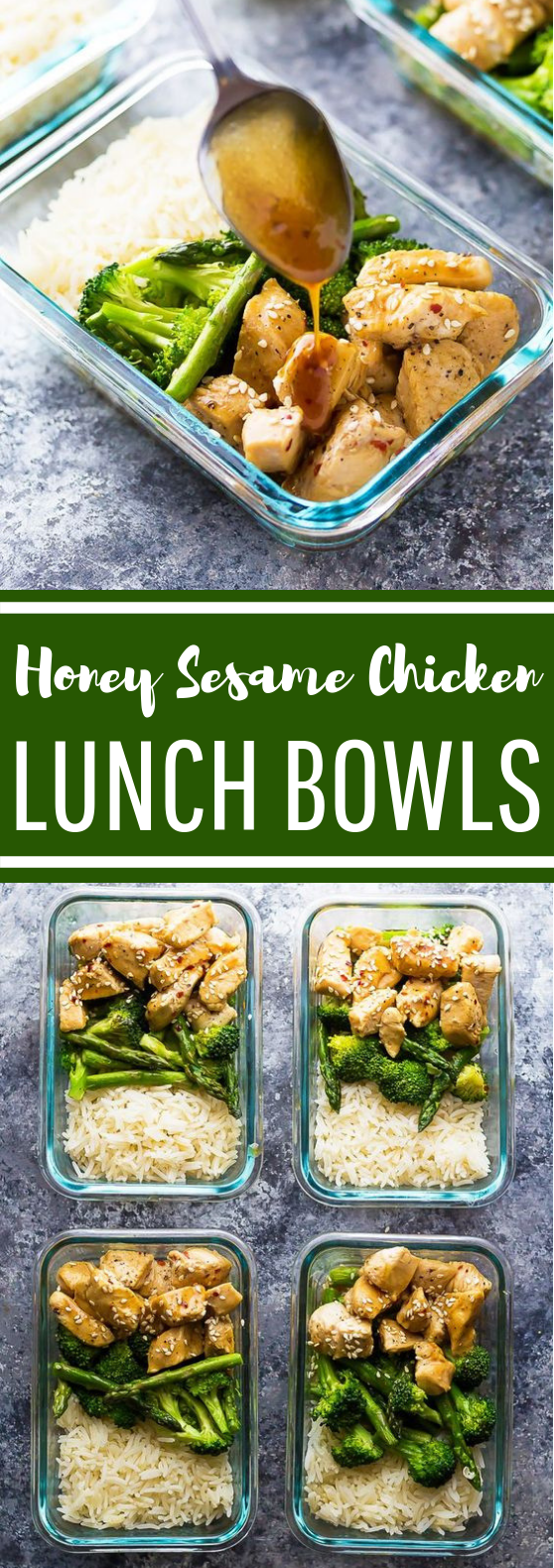 Honey Sesame Chicken Lunch Bowls #healthy #lunch