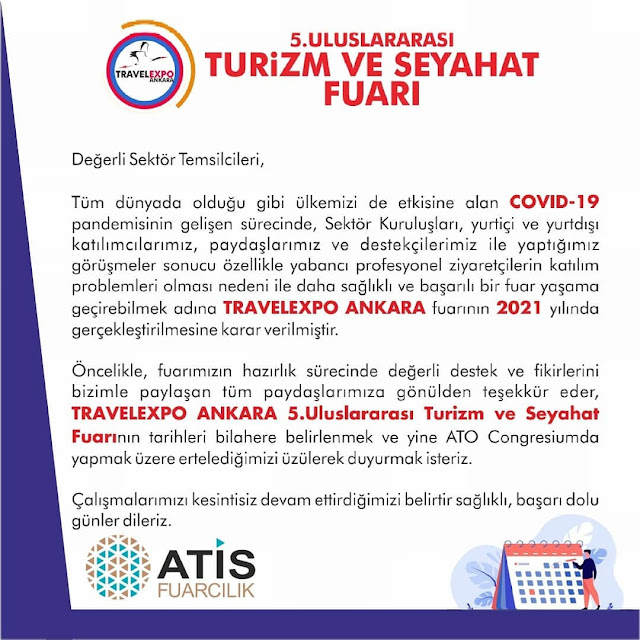 2020 Travelexpo Ankara 5. Uluslararası Turizm ve Seyahat Fuarı İptal Oldu