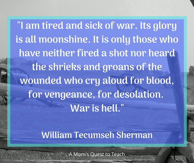 background picture of cannons at Gettysburg; Sherman quote