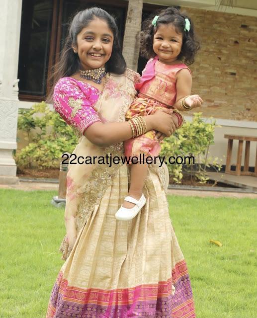 Vishnu Twin Daughters Half Sarees
