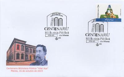 """Sobre con el matasellos del Centenario de la Biblioteca """"Vital Aza"""" de Mieres"""