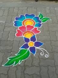 Simple Flower Rangoli Designs For Diwali
