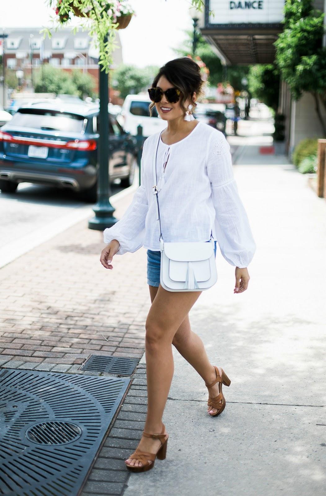 abercrombie denim shorts, af denim shorts, camelia roma handbag