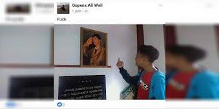 Seorang Anak Alay Sedang di Buru oleh TNI karena Pose Fotonya yang Melecehkan Foto Jendral Sudirman!