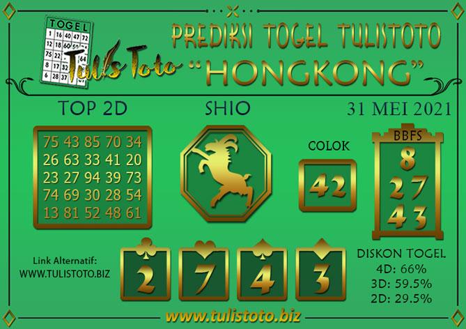 Prediksi Togel HONGKONG TULISTOTO 31 MEI 2021