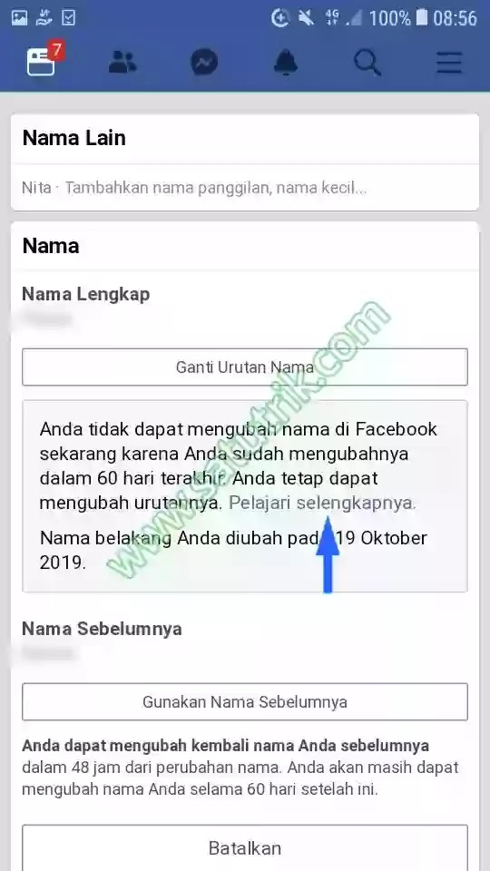5 cara mengganti nama di facebook