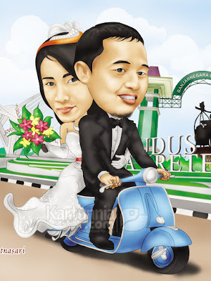 kartun wedding naik vespa