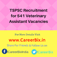 TSPSC Recruitment for 541 Veterinary Assistant Vacancies