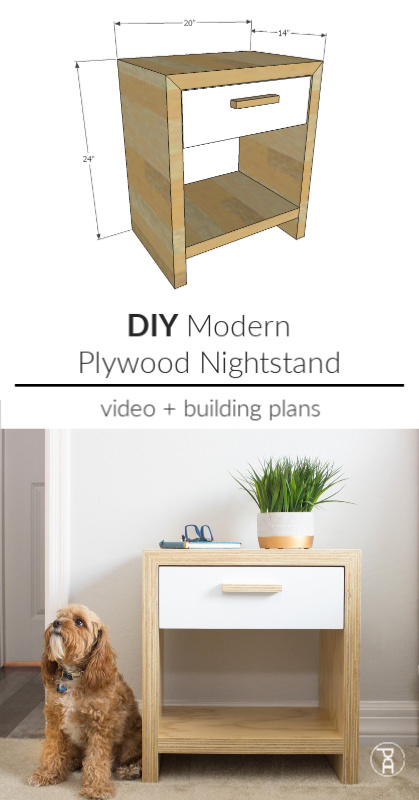 how to build make DIY modern mid century plywood waterfall continuous nightstand bedside table