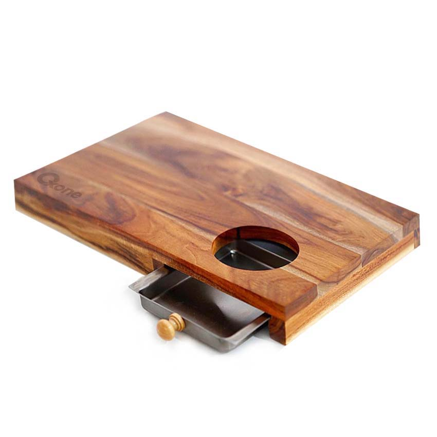 OX-614 Oxone Wooden Chopping Board with Stainless Steel Tray