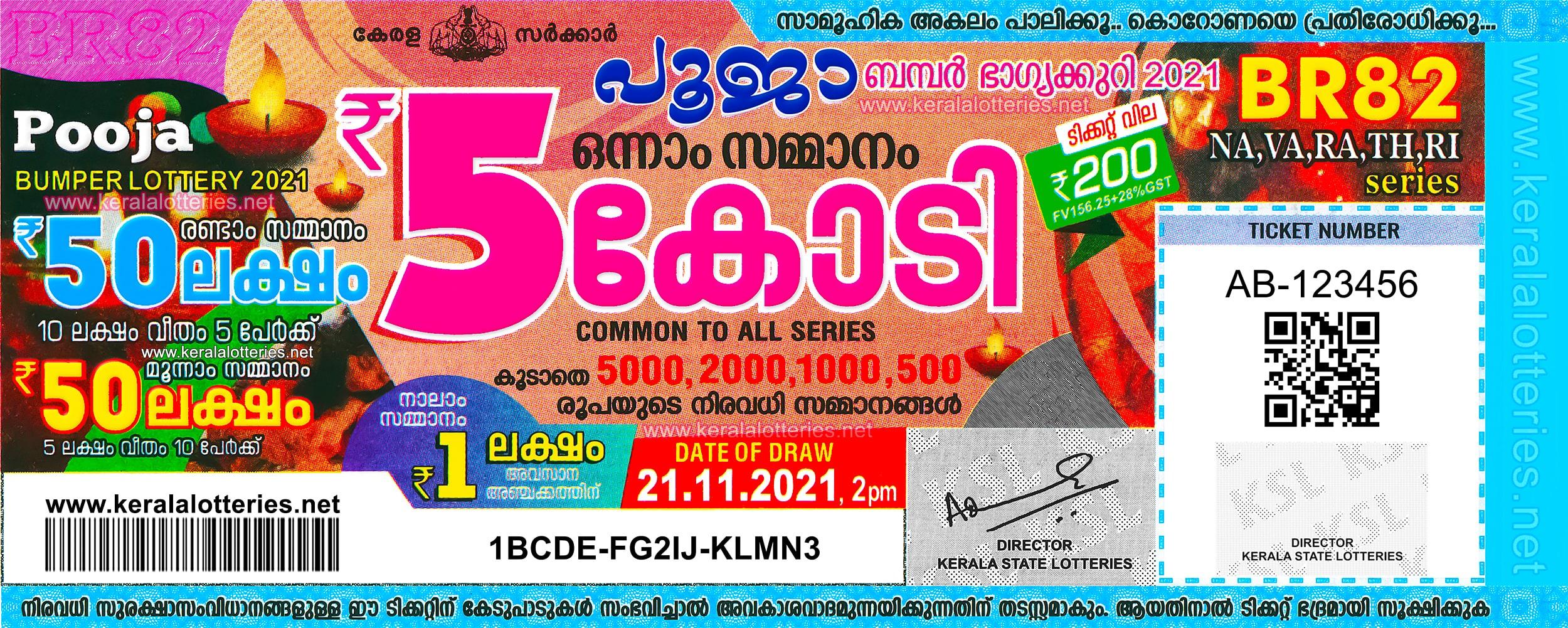 Kerala Pooja Bumper BR 82 Prize Structure 2021