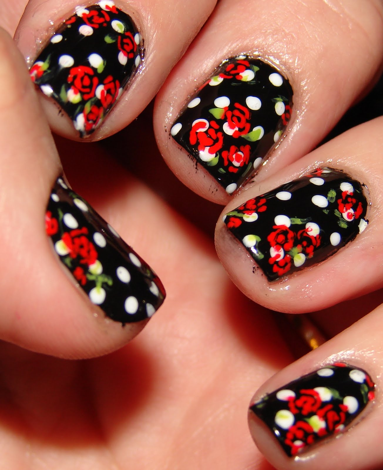 Black Nail Art: Kawaii Nail Art: What's Black, White And Red All Over?