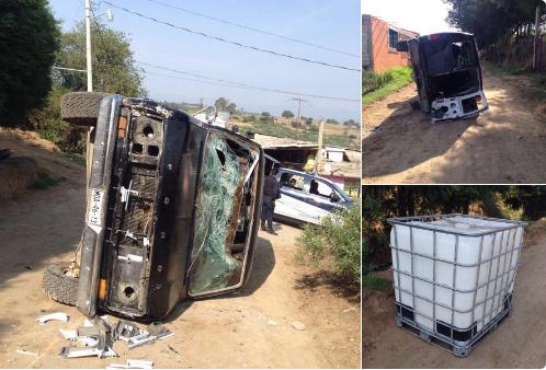 Enfrentamiento a balazos provoca camionetas incendiadas