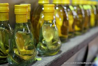 small bottles of snake wine