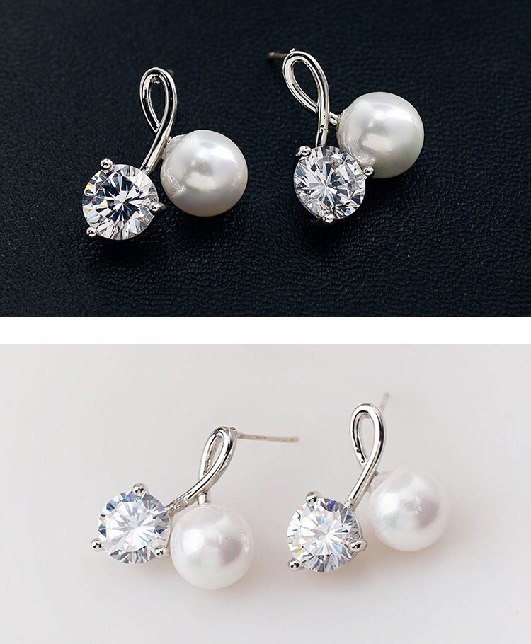 伴你一生擬珍珠鋯石耳環