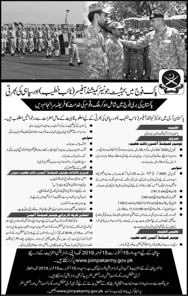Join Pak Army as Soldier 2019 Online Registration | www.joinpakarmy.gov.pk