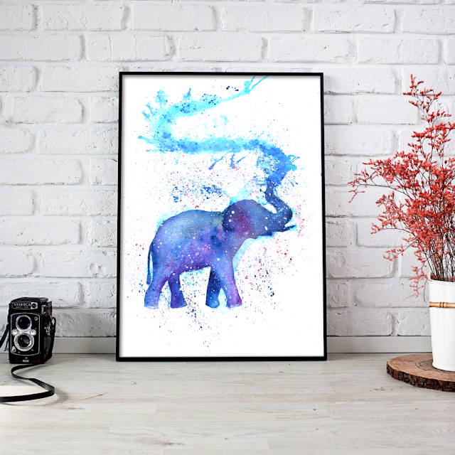 Silhouette Elephant Watercolor