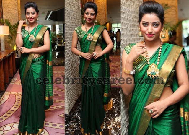Tarunikka Singh Green Saree