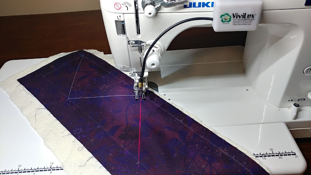 Dot to dot quilting with a sewing machine laser