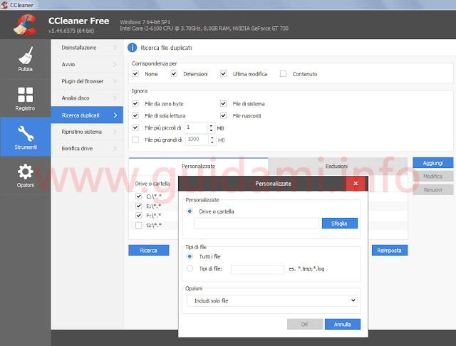 CCleaner schermata strumento Ricerca file duplicati