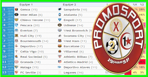 Predictions Tips PromoSport Concours N°31 - Proatwin