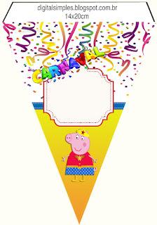 Banderines para Imprimir Gratis de Peppa Pig en Carnaval.