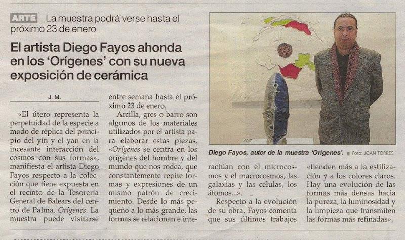 Diego Fayos - Exposición Orígenes. Nota de prensa Última Hora.