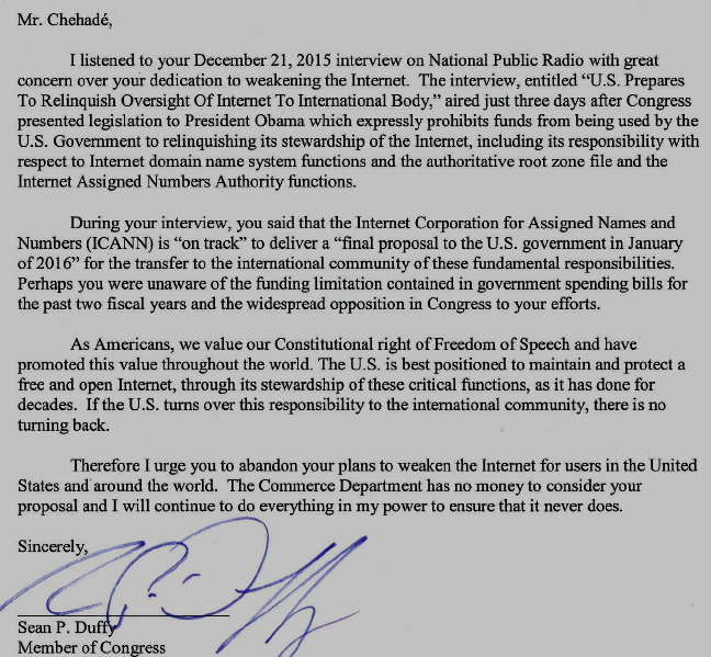 Congressman Duffy, January 13, 2016 Letter to ICANN CEO Fadi Chehadé
