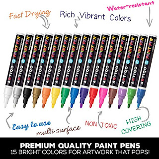 ARTIQO Paint Markers: Artistic Metallic-Color Pens - Rock Arts Paintings and Artworks - Applicable on All Surfaces