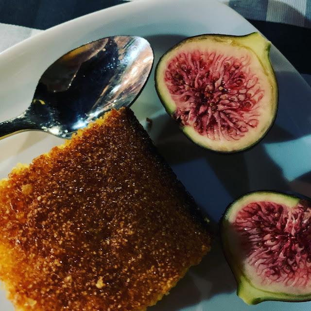 Orange polenta cake and figs at Gabriel's, Kouklia, Cyprus
