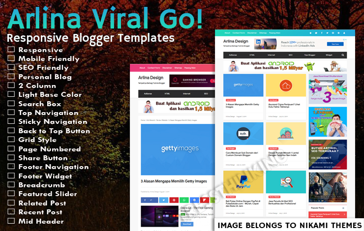 Arlina Design Viral Go! Pro Template - Responsive Blogger Template