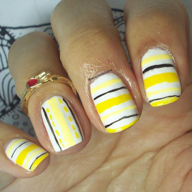 Manicura-color amarillo-lineas