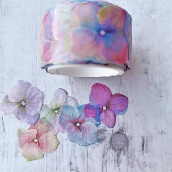 floral washi tape stickers overlapped to create spring flowers