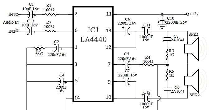 Light circuit diagram: LA4440 Amplifier Circuit