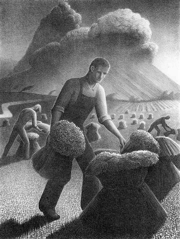 Grant Wood 1940 wheat sheaving