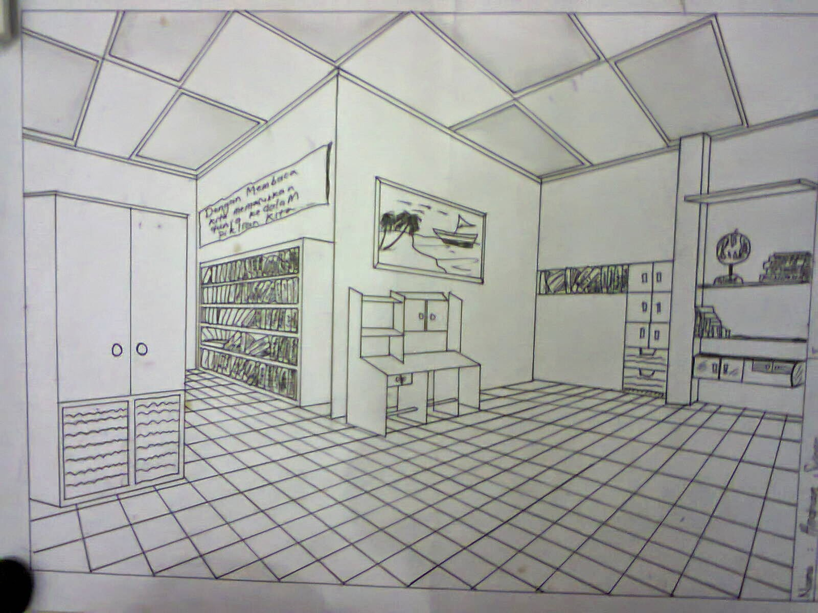 Andrian Suseno Gambar Perspektif 2 Titik Hilang Indoor Dalam Ruangan