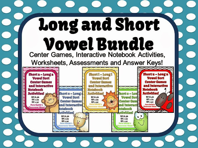 Fern Smith's TPT Milestone Flash Freebie, Discounted Bundle Long and Short Vowel Center Games and Interactive Notebook!