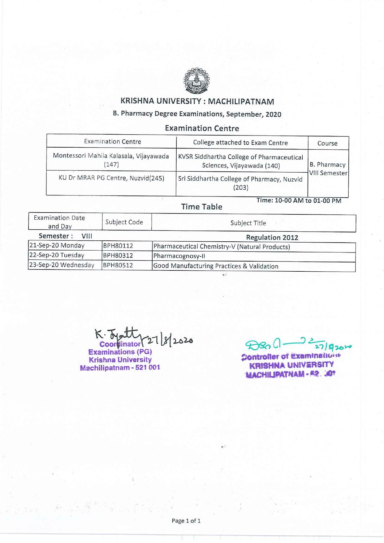 Krishna University B.Pharmacy 8th Sem Sep 2020 Exam Time Table