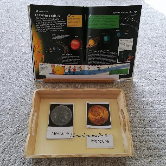    Nos derniers plateaux sensoriels et d'activités # 5 : Cartes de nomenclature et livre sur le système solaire