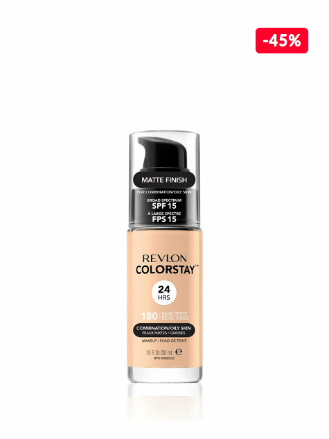 Reducere Fond de ten Colorstay pentru ten mixt-gras, 180 Sand Beige, 30 ml