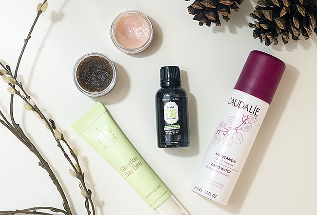 Winter Dry Skin Fixes: Sara Happ Lip Scrub and Lip Slip, Perfectly Posh Call It a Night Nighttime Facial Oil, Caudalie Grape Water, Pixi Glowtion Day Dew
