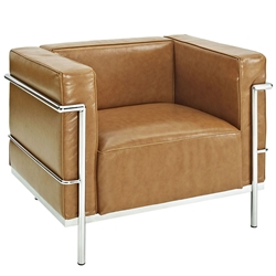 Charles Grande Leather Armchair with Metal Trim