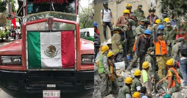 Un tráiler cargado de víveres para Puebla y una cámara para detectar personas vivas son robadas