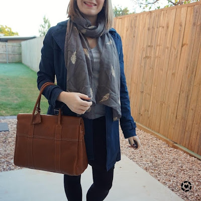 awayfromtheblue Instagram navy coat with feather embroidered scarf grey tee pencil skirt mulberry bayswater